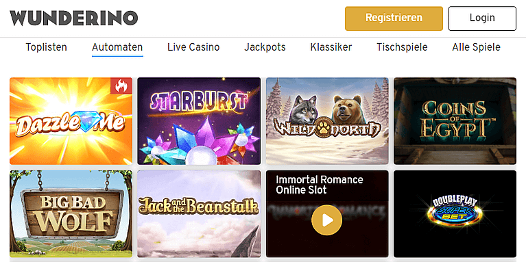 Wunderino Casino Spiele