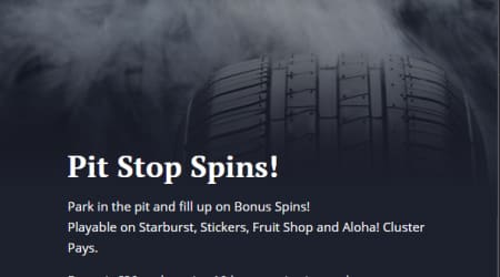 21 casino pit stop spins
