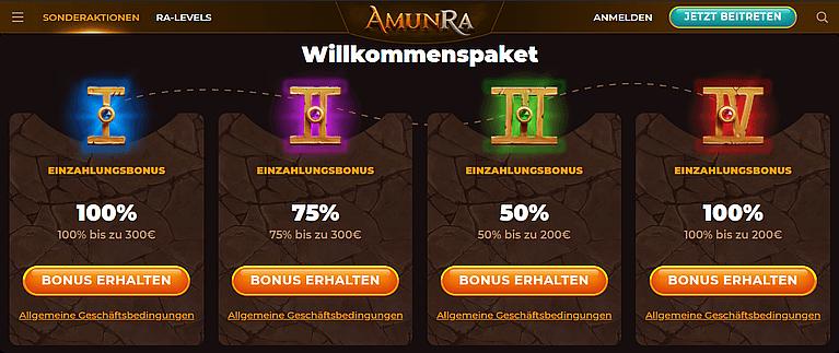 AmunRa Casino Bonus für Neukunden