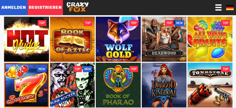 CrazyFox Casino Spiele