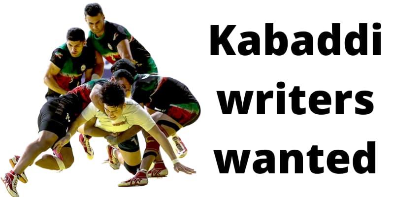Job opportunity for Kabaddi journalist