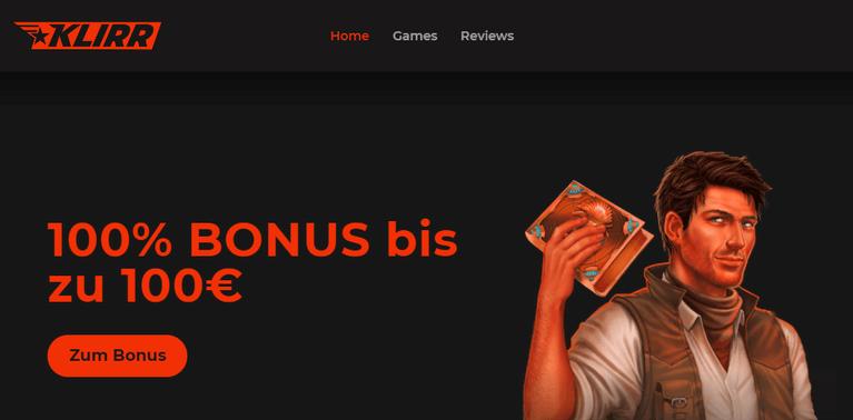 Klirr Casino Bonus bis zu 100 Euro