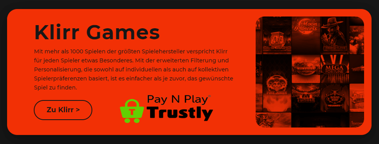 Klirr Casino Spiele & Slots im Pay`n Play Casino