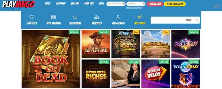 PlayJango Casino Spiele und Live Casino