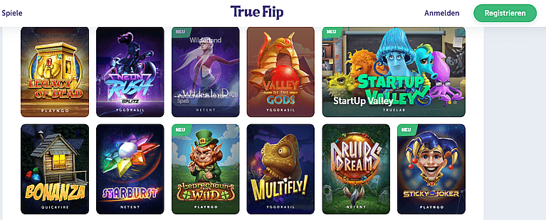 True Flip Casino Spiele