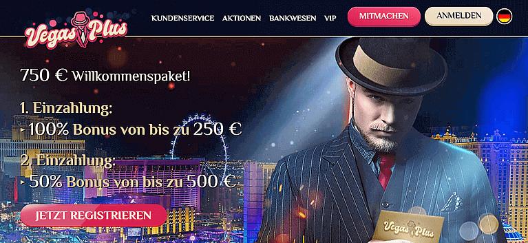 VegasPlus Casino Bonus für Neukunden