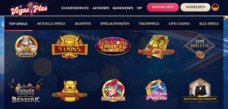 VegasPlus Casino Spiele