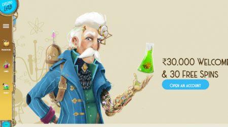 Casino Lab Homepage Screenshot with Welcome Bonus
