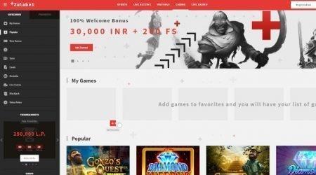 Zulabet Casino Homepage