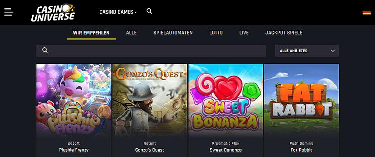 Casino Universe Spieleauswahl