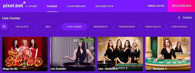 Pixelbet Casino Live Casino