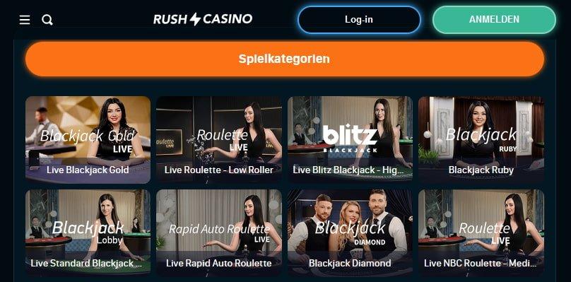 Rush Casino Live Casino Spiele