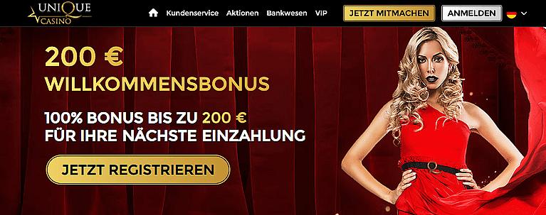 Unique Casino Bonus für Neukunden