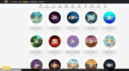 Temple Bazaar casino game selection