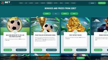 22 Bet casino bonuses