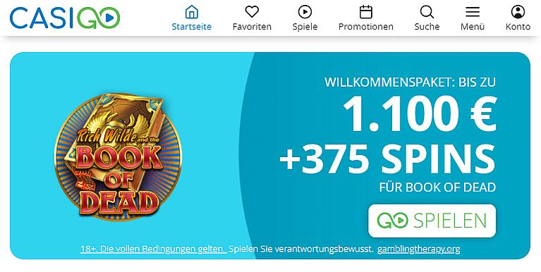 CasiGo Casino Bonus für Neukunden