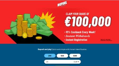 Refuel Casino Bonus 10% cashback