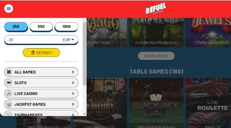 Refuel Casino game options