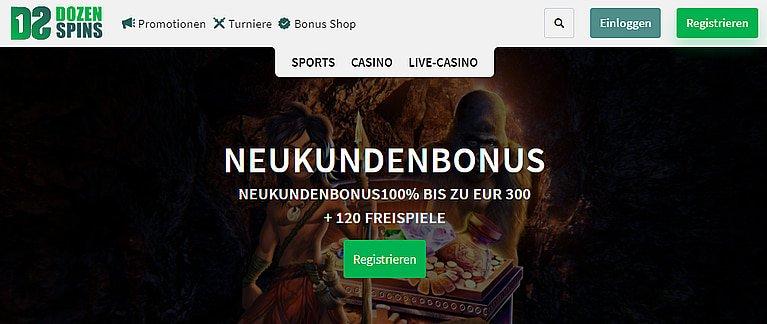 Dozen Spins Casino Bonus für Neukunden