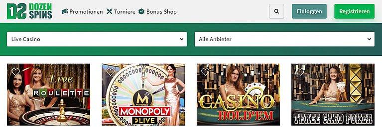 Dozen Spins Live Casino