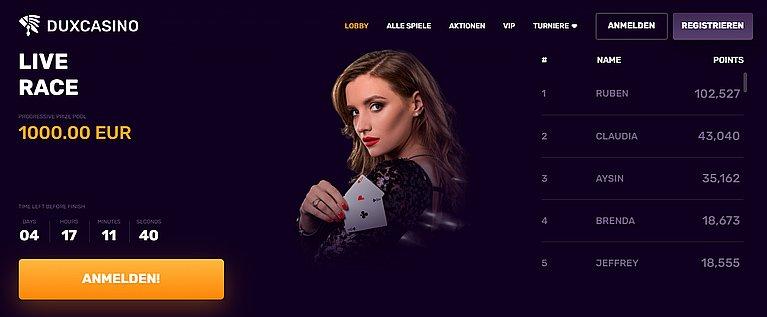 DuxCasino Live Casino Spiele