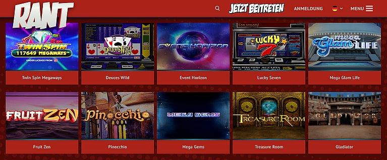 Rant Spiele und Slots
