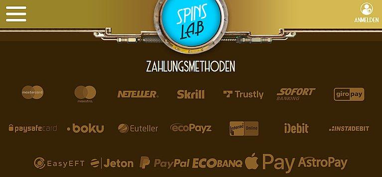 SpinsLab Zahlungsmethoden