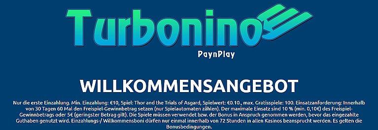 Turbonino Bonus für Neukunden