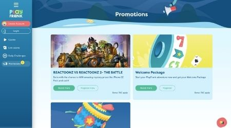 Play Frank Casino Promotions