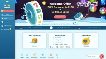 Play Frank Casino Welcome Offer