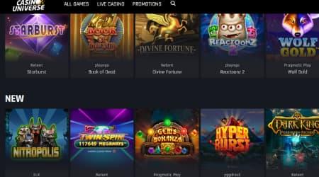 Casino Universe casino games selection