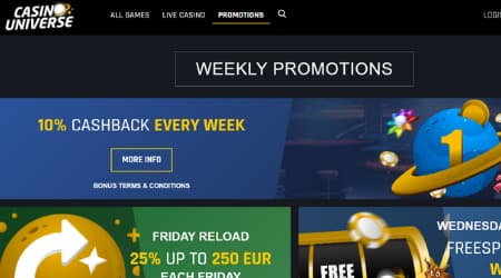 CasinoUniverse weekly promotions