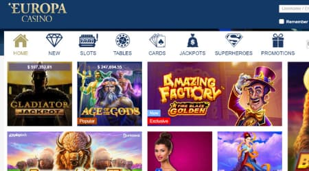 Europa casino games selection