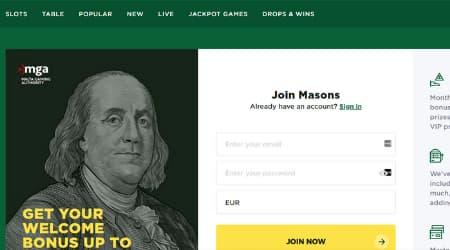 Mason Slots Casino homepage