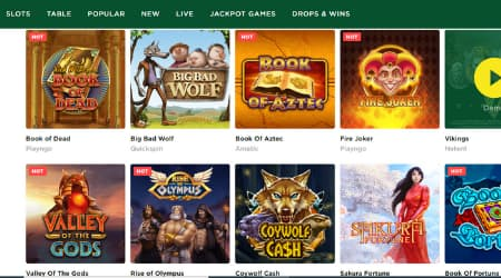 Mason Slots casino games selection