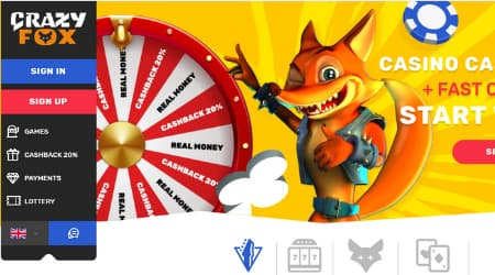Crazy Fox Casino homepage