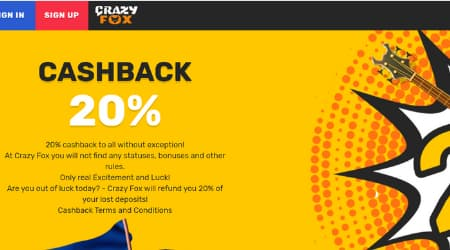 Crazy Fox Promotions & cashback