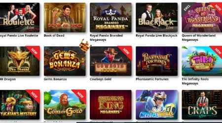 Royal Panda casino game selection