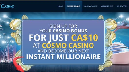 Cosmo Casino Welcome bonus