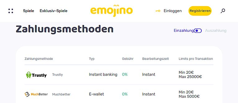 Emojino Zahlungsmethoden