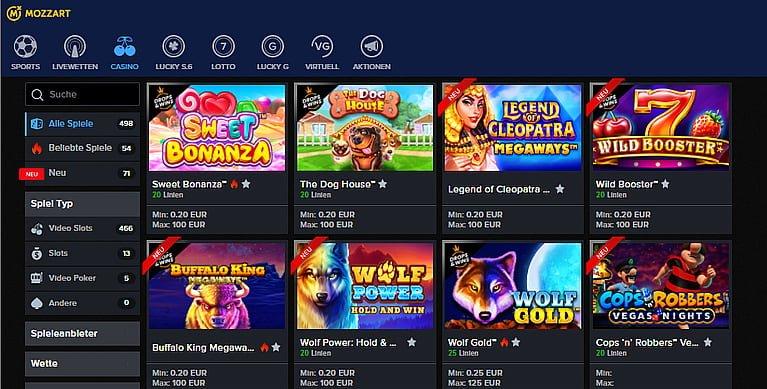 Mozzart Slot Spiele
