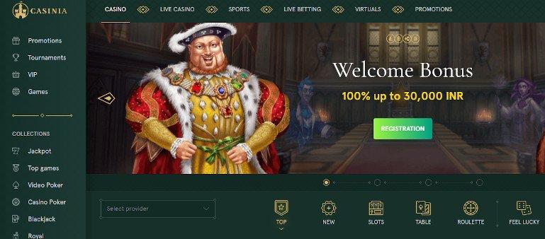 Casinia Casino India Homepage Screenshot showing Bonus and game categories