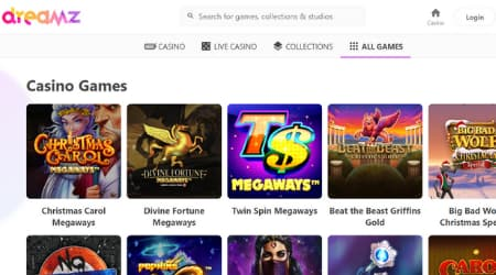 Dreamz casino game selection