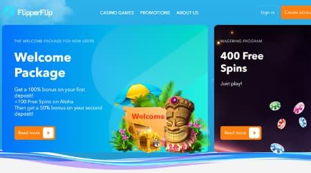 FlipperFlip Casino welcome bonus