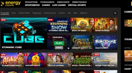Energy Casino online games selection