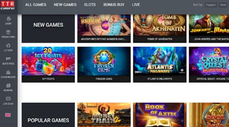 TTR Casino games selection