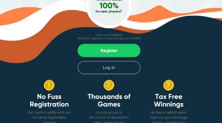 Simple Casino homepage