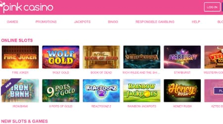 Pink online casino game selection