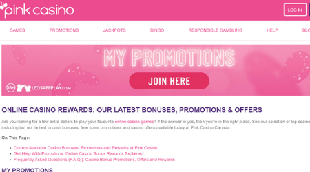 Pink online casino promotions