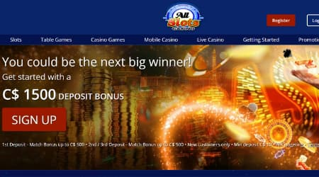 All Slots Casino welcome bonus